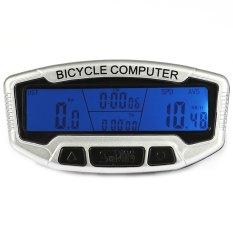 SunDing SD-558C Odometer Speedometer sepeda Wireless/tahan air dengan lampu latar LCD (putih) - International