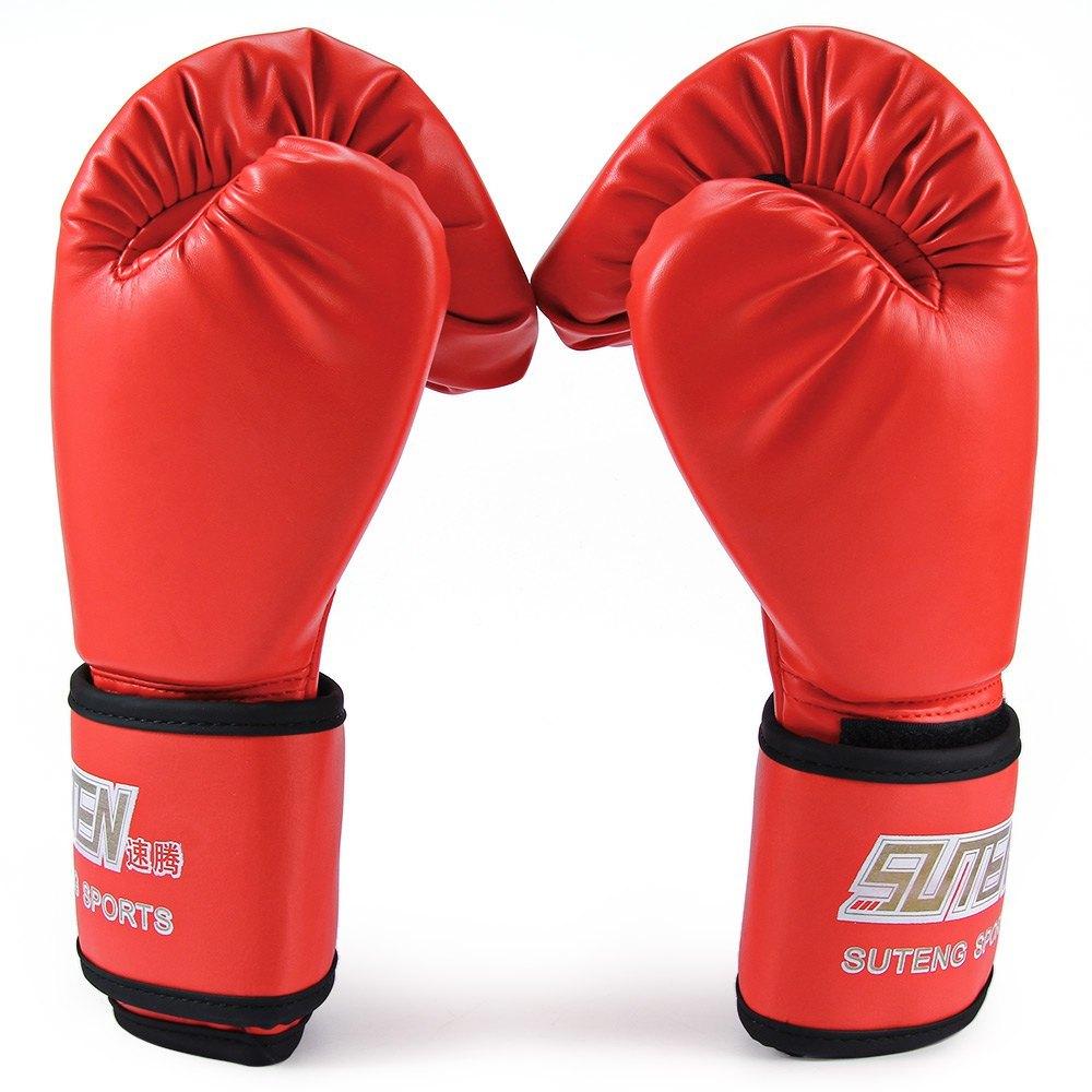 ... SUTEN 1 pasang PU tinju Kick Boxing berjuang memaksakan sarungtangan untuk pelatihan tempur (Merah) ...