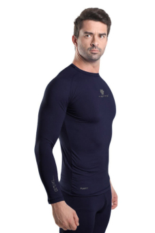 Tiento Baselayer Manset Rashguard Compression Baju Kaos KetatOlahraga Bola Renang Running Gym Fitness Yoga Long Sleeve NavySilver Original - 2