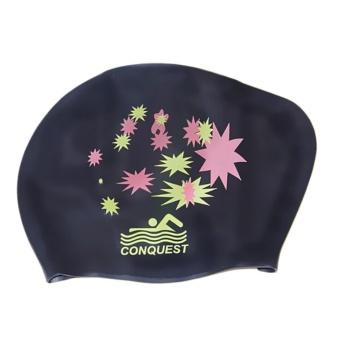 BELI Up Waterproof Silicone Swim Cap Hat For Ladies Women Long Hair With Ear Cup Black – intl TERLARIS