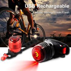 USB Isi Ulang 3-Mode Helm Sepeda Depan Belakang Flash Lampu Peringatan