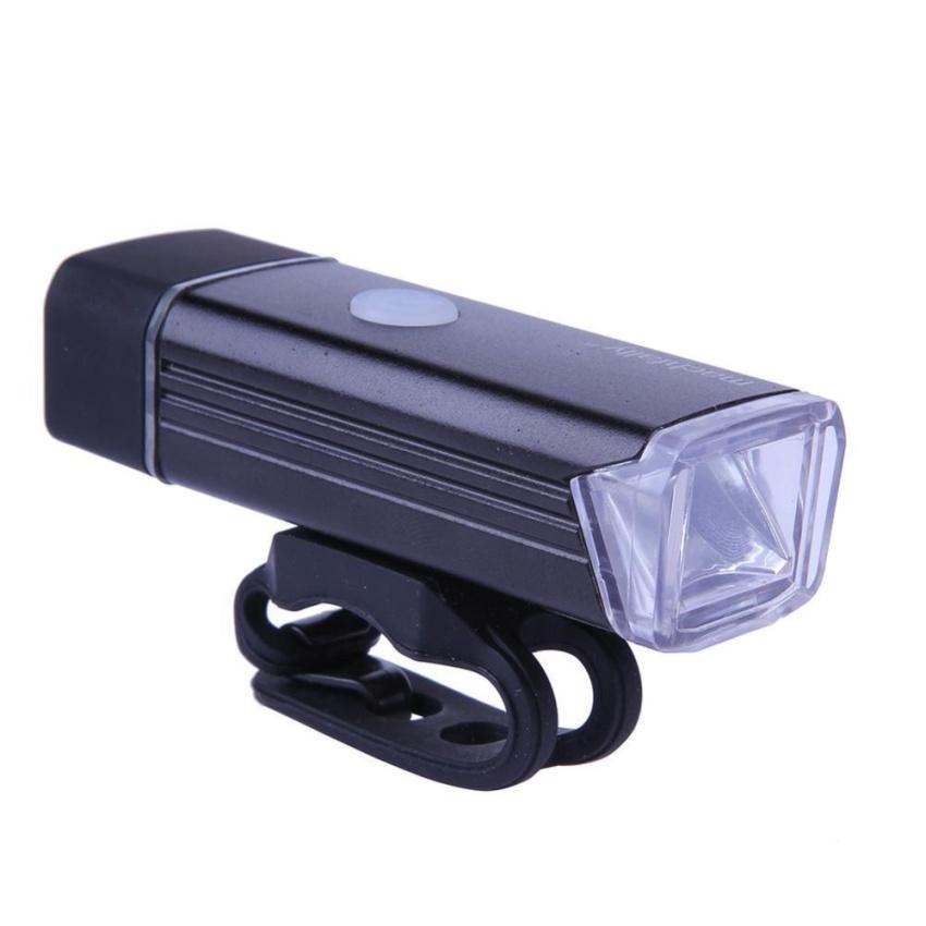 USB Isi Ulang Paduan Aluminium Lampu Depan Sepeda Lampu LED Headlight (Hitam)-Intl