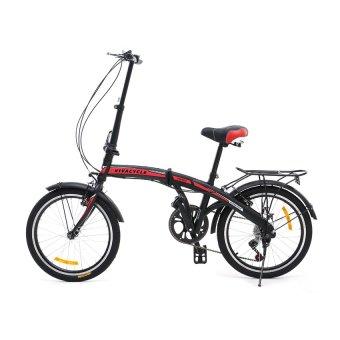 Viva Cycle Twist Y3110 Hi-Ten Folding 7sp Sepeda Lipat 20' - Matt Black