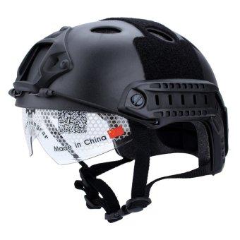 harga Windbreak Tactical Paintball Climbing Protective SWAT Fast Helmet With Goggle (Black) Lazada.co.id