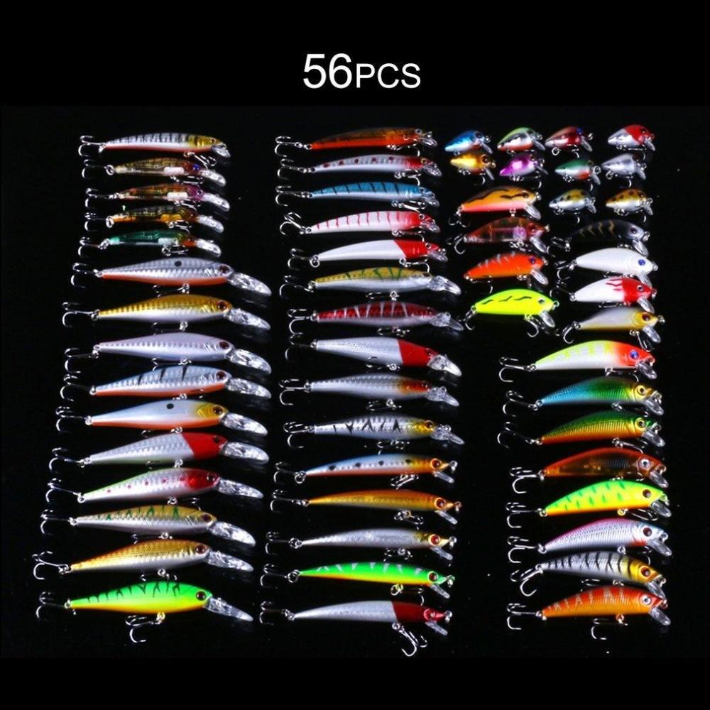 WOND 56pcs Mixed Minnow Fishing Lure Bait Swimbait With Treble Hook Artificial Bait .