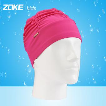 BELI Zoke merajut warna solid Gadis dengan rambut panjang topi renang topi renang topi renang topi renang TERBAIK