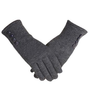 1 Pair of Women Touch Screen Sensitive Gloves Cashmere Solid ColorWinter Warm Glove Grey - intl