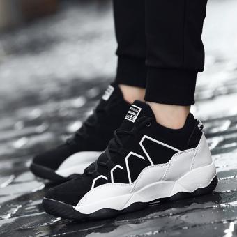 12 Gaya Korea dari remaja siswa anak besar sepatu sepatu olahraga air pasang sepatu (Hitam dan putih [Sepatu])