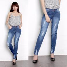 168 Collection Celana Jeans Panjang Naomi Long Pants Wanita - Biru Muda