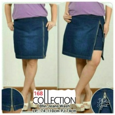 168 Collection Celana Jumbo Hotpant Zipny Jeans Pant Biru .