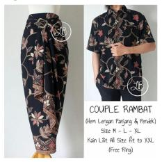 168 Collection Couple Rok Lilit Maxi dan Kemeja Batik - Hitam