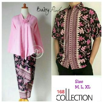 168 Collection Couple Stelan Atasan Blouse Halimah Kebaya Dan RokLilit Batik-Baby Pink