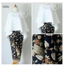... Moniq Abaya Rok Lilit Batik Source 168 Collection Stelan Atasan Blouse White Batwing Dan Rok Lilit