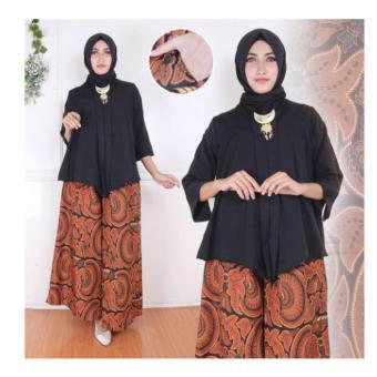 168 Collection Stelan Kebaya Celana Kulot Rok Zaenab Batik-Hitam