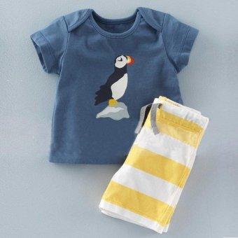 2 Pcs Summer New Fashion Boy T-Shirts Fashion Clothes Sets Short Sleeve + Stripe Shorts - Light Blue - intl - 3