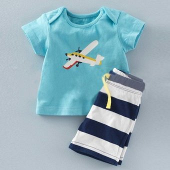 2 Pcs Summer New Fashion Boy T-Shirts Fashion Clothes Sets Short Sleeve + Stripe Shorts - Light Blue - intl