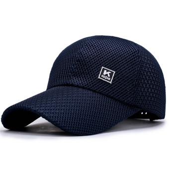 Harga 2017 men's baseball cap summer outdoor sports sun-shading Cap Men Breathable Sport Hats-Dark Blue - intl