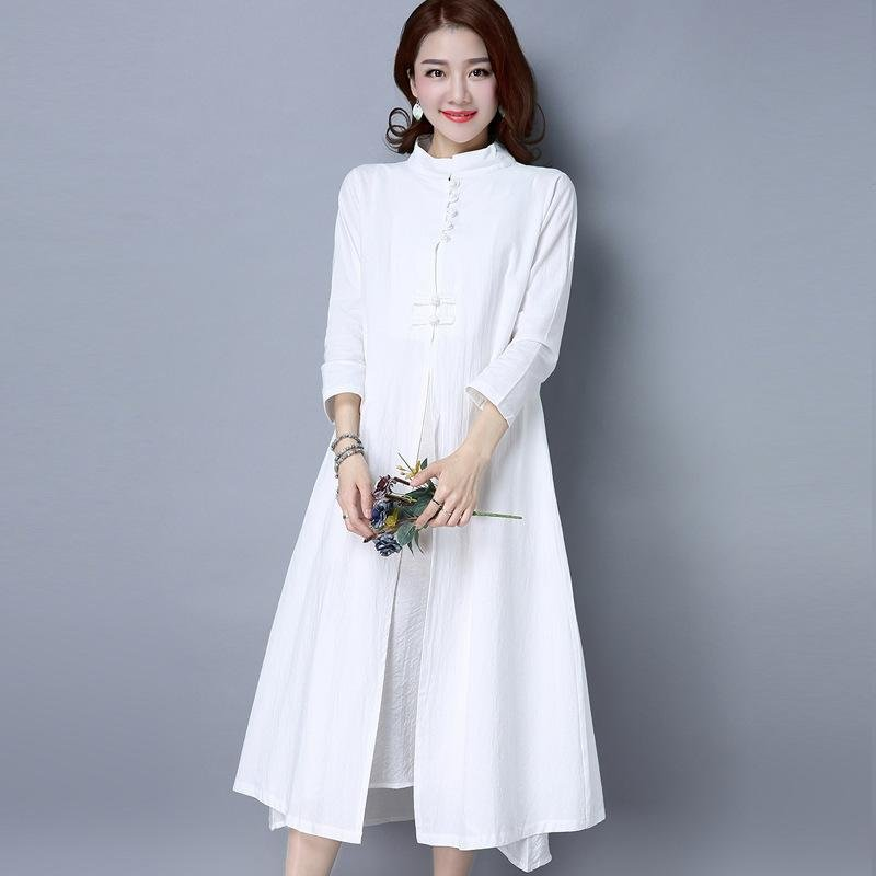 ... 2017 National Wind Retro Women Cotton and Linen Dress in the Long Chinese Style Dress Two ...