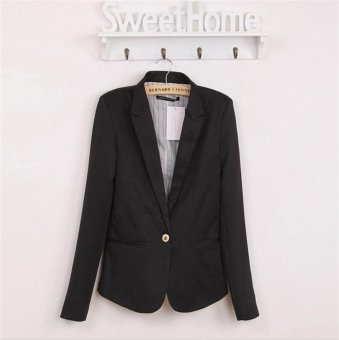 2017 New Hot Blazer Women Candy Color Jackets Suit Slim LadiesBlazers Work Wear Jacket Black - intl