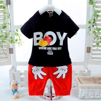2pcs Fashion High Quality Children Clothes Sets Boy T-shirt + RedShorts Hand Pattern Tops White - intl - 2