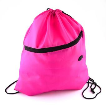 Polyester Drawstring Backpack Bag with Front Zipper Pocket & Headphone Port Rosy