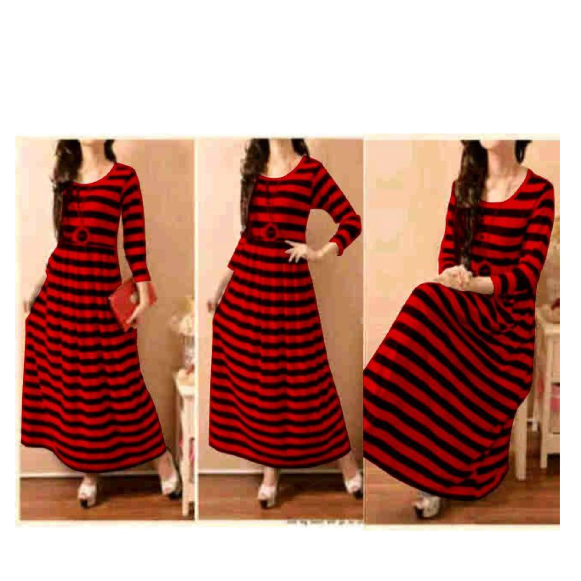369 Maxy Salur Wanita Lengan Panjang Motif Stripe Merah