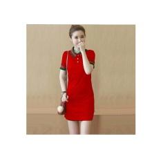 369 Mini Sexy Dress Casual Wanita Motif Kerah Bahan Babyterry - Merah