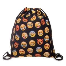 3D Emoji Digital Printing Drawstring Polyester Storage Backpack Portable Foldable Storage Bag - intl