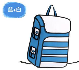 3D model ledakan sekunder yuan kartun tas tas ransel (Biru memukul putih)