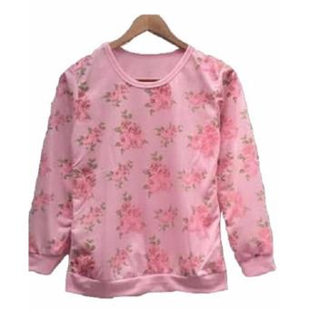 3KFashion - Flower Rose Sweater - Baby Terry - Pink - 2