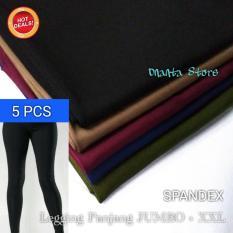 5 Pcs Legging Spandek Polos Panjang JUMBO dan STANDAR - Celana Wanita