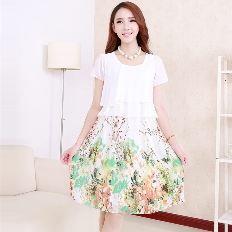 6002# Sweet Printed Maternity Dress with Waist Ties - intl
