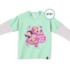 Afrakids baju bayi anak muslim branded happy with hijab mint