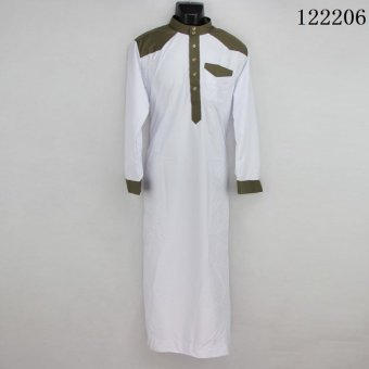 AGAPEON Cotton Jubah For Men Stand Collar with Buttons Long-SleeveWhite - intl