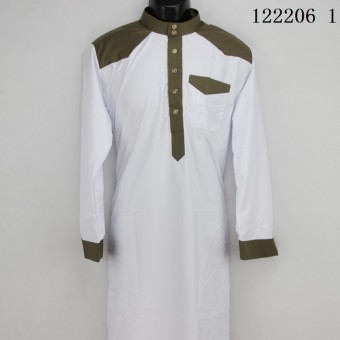 AGAPEON Cotton Jubah For Men Stand Collar with Buttons Long-SleeveWhite - intl - 2