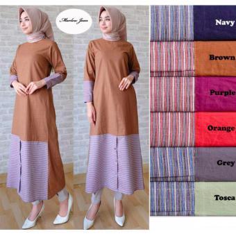 Gambar Alona Dress Muslim Baju Muslim Wanita Baju Gamis Wanita 2 WarnaBahan  Katun Navy Blue 280db9f2bd