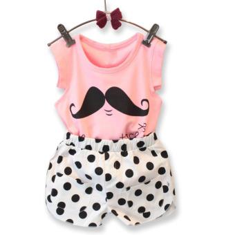 Amart anak gadis tanpa lengan Set kaos + celana pendek yang menghiasi pakaian klausa kumis cetak - Internasional - 2