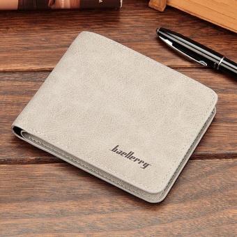 Amart Fashion dompet koin pria Korea dompet pendek kasual kulit PU warna Solid vintage wadah kartu uang - 2