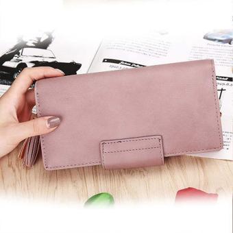 Amart Fashion dompet wanita kulit PU dompet panjang wadah koin kartu kredit dengan rumbai - 4