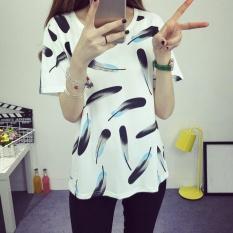 Amart Fashion Korean Women Blouse Feathers Printed Short Sleeve Shirt Loose Tops Summer Casual Blouses -