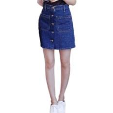 Amart Fashion rok musim panas wanita berpinggang tinggi dengan saku dada depan tunggal rok pensil Denim Jeans Vintage (biru tua)