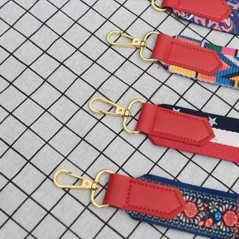 Amart Fashion sabuk tas wanita penuh warna katun tali bahu lebar pengait logam dapat disesuaikan untuk tas kurir - 4