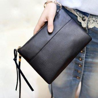 Amart Fashion tas dompet genggam wanita kulit PU tas bahu kurir selempang berpenutup