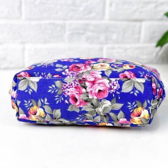 Amart Fashion tas kurir bahu wanita sederhana kanvas bercetak bunga beritsleting kapasitas besar - 4