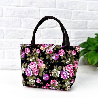 Amart Fashion tas kurir bahu wanita sederhana kanvas bercetak bunga beritsleting kapasitas besar - 2 .