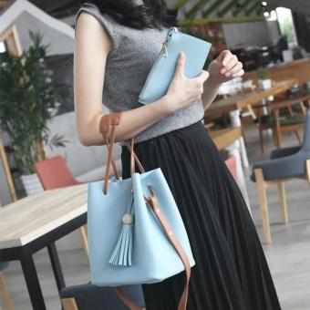 Amart Fashion tas kurir wanita dengan dompet tas bahu selempang kulit bermanik liontin rumbai - 2
