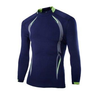 Amart Kaos pria Lengan Panjang pakaian kemeja Olahraga Bersepeda outdoor (biru laut)