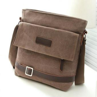 Amart Men Canvas Casual Messenger Bag Office Single Shoulder Crossbody Bags(Coffee) - intl