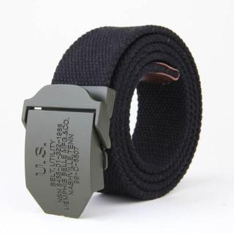 Amart Men's Belts Canvas Belt Weave Buckle Casual Wild Automatic Belt(Black) - intl