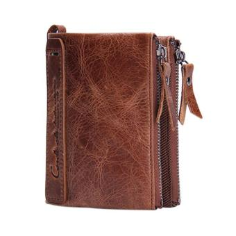 Amart New Genuine Leather Men Wallet Short Coin Purse Vintage Wallets (Brown) - intl